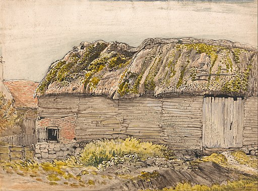 A barn with a mossy roof at Shoreham by Samuel Palmer
